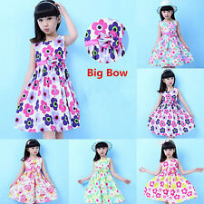 Girls Dress Summer Floral Sleeveless Kids Sundress Party Birthday Lovely Clothes