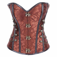 Sexy Gothic Steel Boned Overbust Buckle Corset Steampunk Bustier Lingerie