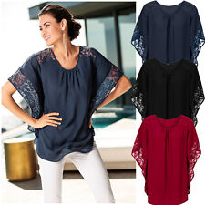 Graceful Women's Long Lace Batwing Sleeve Sheer Loose Casual Tops Blouse Shirts