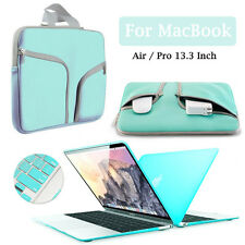 Tiffany Blue Sleeve Carry Bag+Hard Case+Keyboard Cover for Macbook Air Pro 13""