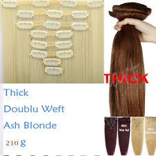 US Double Weft Clip in Real Thick Hair Extensions 8 Pcs Full Head Natural Hair