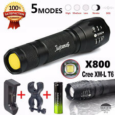 G700 X800 Cree T6 LED Zoomable Military Flashlight Torch W/ Battery Charger Set