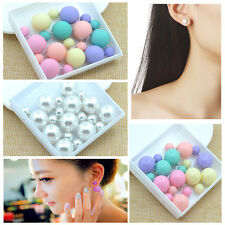5 Pairs Earring Matte Ball Candy Color Double Side Pearl Stud Earrings For Women