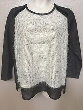 (NWT) Style&Co Women's Plus Sizes Gray/Black/Ivory Fuzzy Scoop Neck Sweater Top