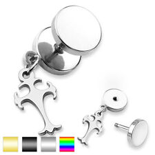 Unisex Ohrring Fake Plug made of surgical steel Stainless 316L Celtic. Cross