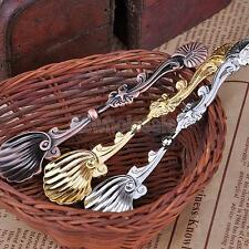 Retro Luxury Palace Style Coffee Tea Spoon Conch Stripe Handle Scoop Flatware