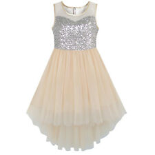 Flower Girl Dress beige Sequined Tulle Hi-lo Wedding Party Dress Age 7-14 Years