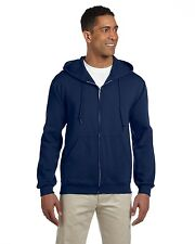 Jerzees Hoodie Sweatshirt Men's 9.5 oz Super Sweats 50/50 Full-Zip Solid 4999