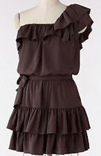 NWT~LAUREN CONRAD One Shoulder Ruffle Dress~Dark Olive~Size 10