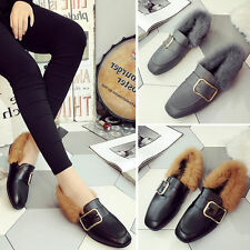 Women's Loafers Shoes Flat Rabbit Fur Short Low Black Gray Ankle Boots 35-40Yard