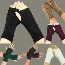 Fashion Knitted Arm Fingerless Winter Womens Gloves Unisex Soft Warm Mens Mitten
