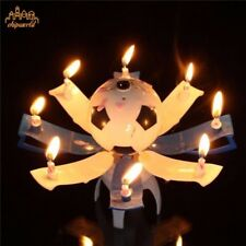 Cake Topper Birthday Party Lotus Flower Decor Candle Blossom Musical Rotating