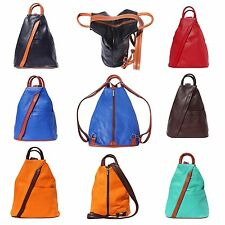 Italian Leather Backpack Shoulder Bag Purse Handcrafted In Florence Italy 2061