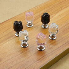 Crystal Glass Rose Flower Cabinet Cupboard Drawer Wardrobe Door Knob Handle 20mm