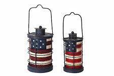 Metal American Flag Vintage Tealight Lantern Memorial Day July 4th Decor