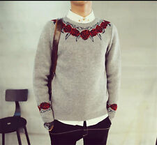 Stylish Mens Sweaters Casual Crew neck Slim Print Knitwear Pullover Tops