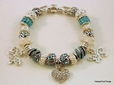 AUTHENTIC PANDORA  BRACELET W/ CHARMS TEAL LOVE  BUTTERFLIES  HINGED BOX
