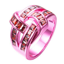 Red Garnet women's Ring 10KT Pink Gold Filled Jewelry Gift Xmas Band Size 6-10