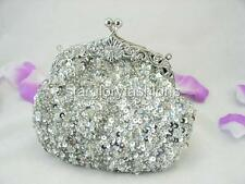 Bling Silver Beaded Sequined Evening Ball Clutch Purse Formal or Casual