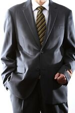 MENS SINGLE BREASTED 2 BUTTON WOOL RICH DARK GRAY DRESS SUIT, 40612N-40632-DGR
