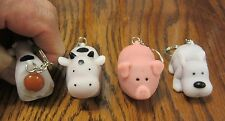 12 NEW NAUGHTY FARM ANIMALS POOPING KEYCHAIN DOG PIG COW SQUEEZE POOP KEY RING