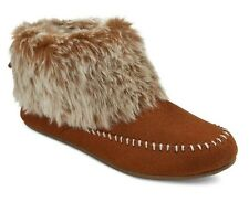 MOSSIMO Women's Clover Brown or Black Fur Trimmed Suede Bootie Slippers - NEW