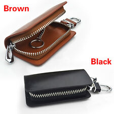 Women Men Genuine Leather Car KeyChain Holder Wallet Ring Case Key Organizer Bag
