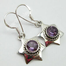Indian Silver Gift Items, 925 Solid Silver AMETHYST STAR ARTISAN Earrings 3.0 CM