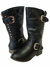 Link girls black mid calf zip up gold stud buckle design boots Toddler size 9