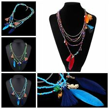 Colorful Ethnic Style Tassel Beads Multilayer Chain Necklace Feather Pendant