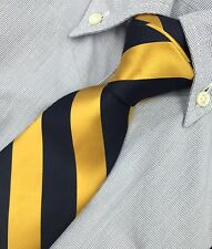 NEW Brooks Brothers Navy Gold Classic Satin Stripe Neck Tie ~ MSRP $79.50 USA