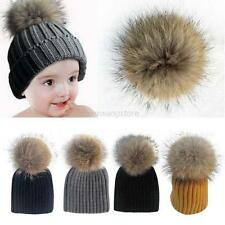 Stylish Child Baby Warm Winter Knit Raccoon Fur Pom Bobble Hat Crochet Ski Caps