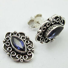 925 Solid Silver IOLITE VINTAGE STYLE Earrings 1.5 CM Body Jewelry FREE SHIPPING