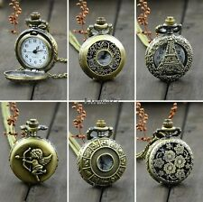 EA77 Antique Vintage Bronze Tone Pocket Chain Quartz Pendant Watch Necklace