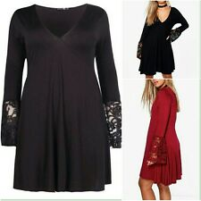 New Attractive Ladies Plunge Lace Detail Women Skater Dress PLUS SIZE Top 16-24