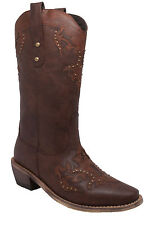 NEW Womens AdTec Cowboy Western Work Boot Riding Casual Dress Boot Brown 8608