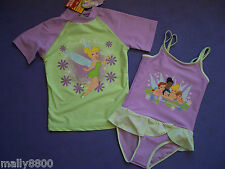 Disney Fairies - Tinkerbell  - Girls Rash Top + Bathers -  UPF 50+ - Select Size