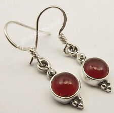 925 Solid Silver Dazzling RED CARNELIAN Gemstone ANCIENT STYLE Earrings 3.0 CM