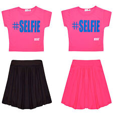 Girls #Selfie Crop Top & Skirt Set Kids Children 2 Piece Outfit Fashion 7-13 Yrs