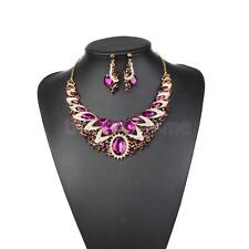Luxury Bride Ladies Crystal Gemstone Statement Necklace Earring Jewelry Set