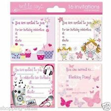 16 x Girls Childrens Birthday Invite Party Invitations Cupcake Fairy Butterfly