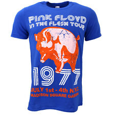Pink Floyd In The Flesh, NYC 77 Tour Blue T-shirt Official Licensed Music