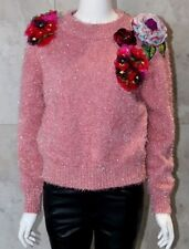 Floral Embroidered Flower Pink Long Sleeves Jumper Sweater