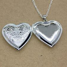 Without Necklace Fashion Love Heart Locket Pendant Photo Charm Silver Plated