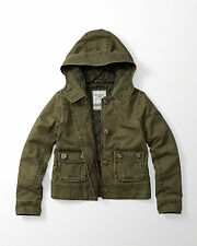 NWT $140 Abercrombie womens Olive twill button jacket coat