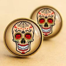 Sugar Skull Cufflinks - Halloween, Day of the Dead, Rockabilly, Tattoo Goth Punk