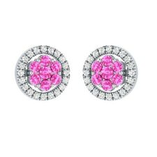 0.58 ct Round Cut Pink & White Sapphire Solid Gold Cluster Flower Stud Earrings