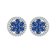1.34 ct Round Cut Blue & White Sapphire Solid Gold Cluster Flower Stud Earrings
