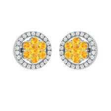 0.76 ct Round Yellow Citrine & Sapphire Solid Gold Cluster Flower Stud Earrings