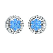 0.58 ct Round Blue Topaz & Sapphire Solid Gold Cluster Flower Stud Earrings